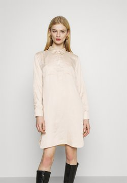 NU-IN - HALF PLACKET SHIRT DRESS - Vestido camisero - beige