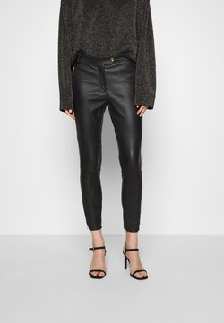 DEPECHE - PANT ZIPPER POCKET AND ZIPPER AT BOTTOM - Leather trousers - black
