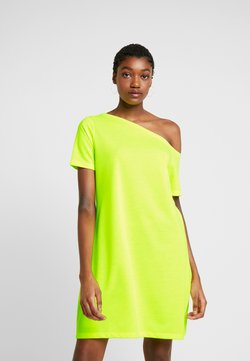 NA-KD - OFF SHOULDER RELAXED - Jersey dress - neon yellow