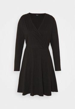 Simply Be - WRAP SKATER DRESS - Jerseykleid - black