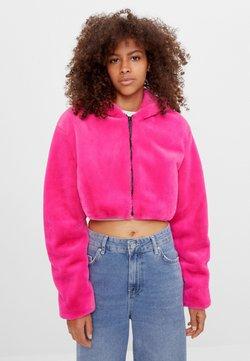 Bershka - MIT KAPUZE - Fleecejacke - neon pink