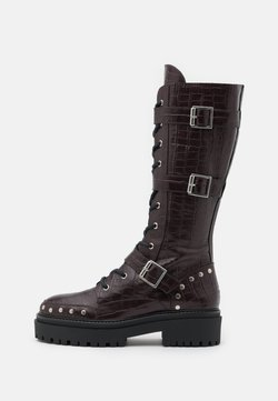 Topshop - ASTEROID KNEE HIGH CHUNKY LACE UP - Lace-up boots - burgundy