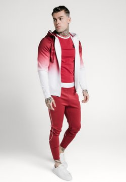 SIKSILK - AGILITY FADE ZIP THROUGH HOODIE - Collegetakki - red/white