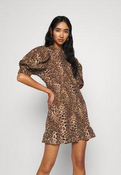 Topshop - PUFF MINI DRESS - Korte jurk - brown