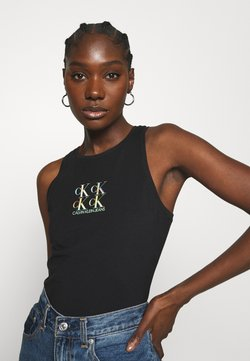 Calvin Klein Jeans - SHINE LOGO RACER BACK - Top - black