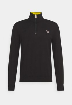 PS Paul Smith - MENS ZIP NECK ZEBRA - Strickpullover - black