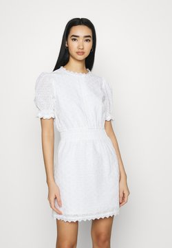 NA-KD - SMOCK DETAIL MINI DRESS - Cocktail dress / Party dress - white