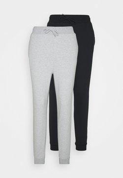 Even&Odd - 2er PACK - Slim fit joggers - Jogginghose - mottled light grey/black