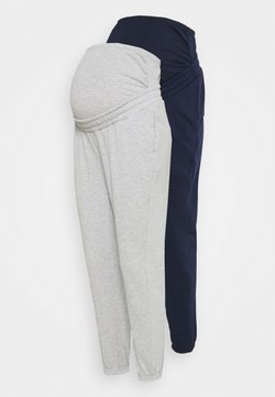 Anna Field MAMA - 2 PACK - LOOSE FIT JOGGERS - OVERBUMP - Jogginghose - dark blue/light grey