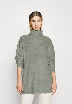 Even&Odd - LONG LINE ROLL NECK - Strickpullover - green