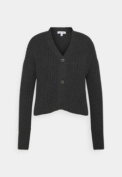 NU-IN - RIBBED CROPPED CARDIGAN - Vest - dark grey
