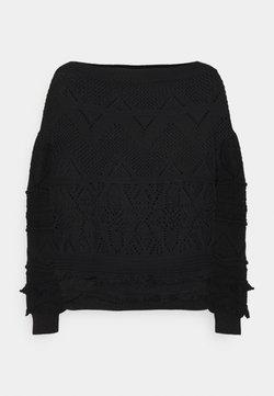 TWINSET - MAGLIA CROCHET CON FRANGE - Jersey de punto - nero