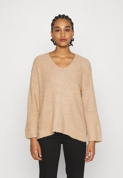 American Eagle - TEXTURED VEE NECK - Pullover - tan