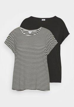 Vero Moda Curve - VMAVA PLAIN STRIPE 2 PACK - T-Shirt print - black/pristine