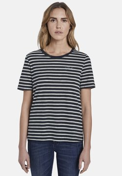 TOM TAILOR - T-Shirt print - navy/offwhite