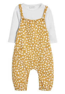 Next - OCHRE SPOT DUNGAREE AND BODYSUIT SET (0MTHS-2YRS) - Body - yellow