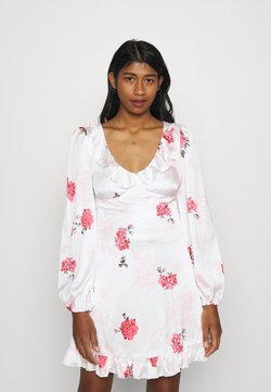 Missguided - FLORAL FRILL DETAIL SWING DRESS - Cocktail dress / Party dress - white
