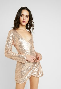 Nly by Nelly - WRAP SEQUIN DRESS - Cocktailkleid/festliches Kleid - champagne