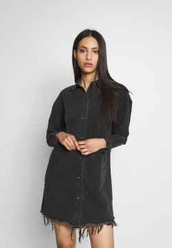 Missguided Tall - OVERSIZED DRESS STONEWASH - Denim dress - black
