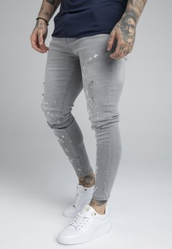 SIKSILK - BLEACH SPLAT RIPPED KNEE - Jeans Skinny Fit - washed grey