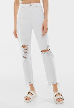 Bershka - Jeansy Relaxed Fit - white