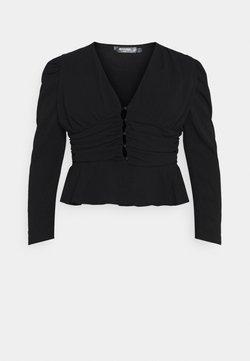 Missguided Plus - RUCHED PUFF SLEEVE PEPHEM - Bluse - black