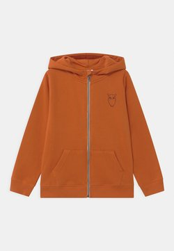 KnowledgeCotton Apparel - LOTUS OWL HOOD - Hoodie met rits - orange