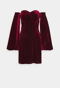 Missguided Tall - STUD PUFF SLEEVE MINI DRESS - Cocktailkleid/festliches Kleid - burgundy