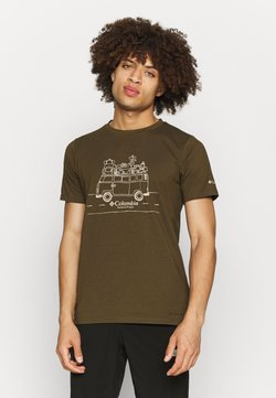 Columbia - MENS SUN TREK™ SHORT SLEEVE GRAPHIC TEE - T-shirt print - olive green