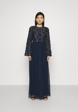 Maya Deluxe - FLORAL EMBELLISHED BELL SLEEVE MAXI DRESS - Ballkleid - navy
