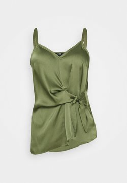 Simply Be - KNOT FRONT HAMMERED CAMI - Top - khaki