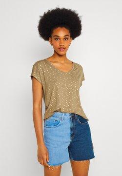 ONLY - ONLMANYA GLITTER V NECK  - T-Shirt print - elmwood/gold