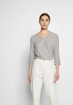 Marc O'Polo - LONG SLEEVE V-NECK STRIPED - Long sleeved top - multi/soft white