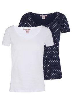 Anna Field - 2ER PACK  - T-Shirt print - navy/white