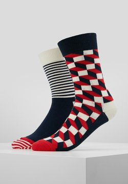 Happy Socks - FILLED OPTIC HALF STRIPE 2 PACK - Socken - black/multi-coloured