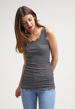 Rosemunde - SILK TOP MEDIUM W/WIDE LACE - Top - dark grey