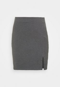 Even&Odd - Basic mini skirt with slit - Minirock - mottled dark grey