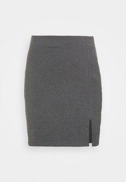 Even&Odd - Basic mini skirt with slit - Minirock - mottled dark grey