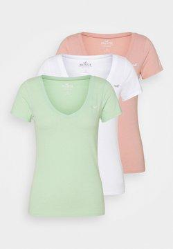Hollister Co. - Camiseta estampada - white/pastel green/mellow rose