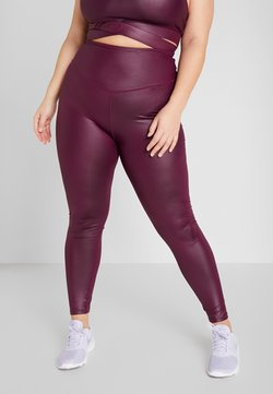 South Beach - CURVE WETLOOK HIGHWAIST LEGGING - Tights - burgundy