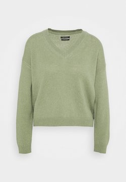Marc O'Polo - LONGSLEEVE V NECK CROPP - Strickpullover - dried sage