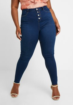 Missguided Plus - BUTTON FRONT LAWLESS - Jeans Skinny - deep blue