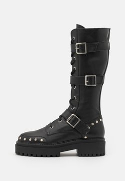 Topshop - ASTEROID KNEE HIGH CHUNKY LACE UP - Schnürstiefel - black