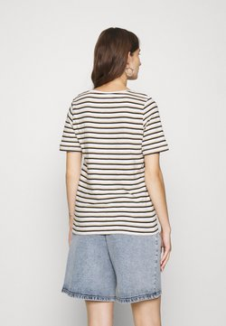 Selected Femme - SLFHANNAH STRIPE TEE - T-Shirt print - snow white/black