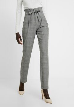 Vero Moda Tall - VMEVA LOOSE PAPERBAG CHECK PANT - Stoffhose - grey/white