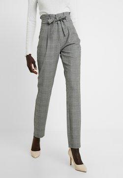 Vero Moda Tall - VMEVA LOOSE PAPERBAG CHECK PANT - Broek - grey/white