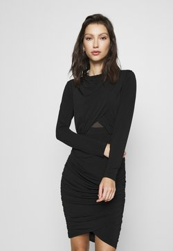 Forever New - ELLA LONG SLEEVE WRAP BODICE DRESS - Etui-jurk - black