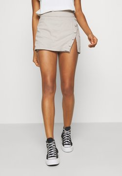 NU-IN - WRAP OVER SKIRT - Denim shorts - grey