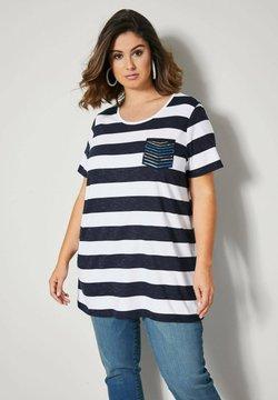 Sara Lindholm by HAPPYsize - T-Shirt print - marineblau weiß