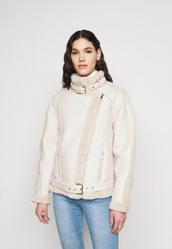 Missguided Tall - PREMIUM BELTED AVIATOR - Imitatieleren jas - cream